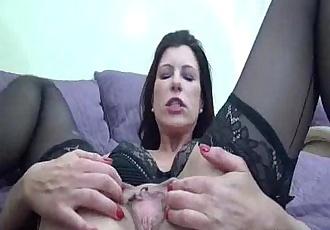 Hot brunette MILF fist fucked till she squirts - 5 min