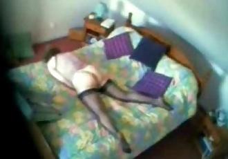 My mom caught masturbating on bed. Hidden cam - 57 sec
