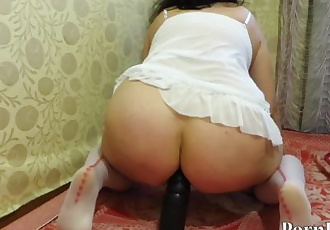 mature aunt, makes anal fisting and fuck a big dildo, a broken-down ass
