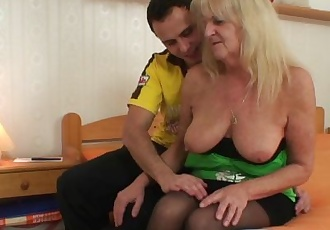 He fucks blonde grandma in black stockings