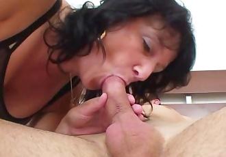 Horny grandma wakes him up to fuck
