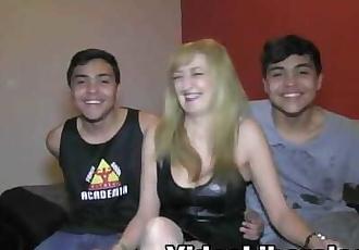 Two Spanish teen twin boys fuck a horny milf