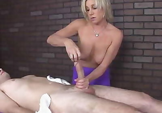 Lucky stud has his dick yanked hardcore 4 min 720p