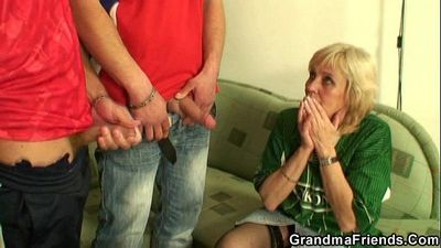 Granny has to get fucked by two men - 6 min