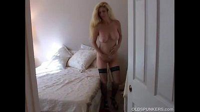 Big tits blonde MILF in stockings - 5 min