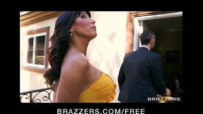Tattooed brunette MILF Lezley Zen takes on two big hard cocks - 7 min HD