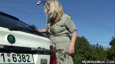 He screws his old mother in law outdoor - 6 min