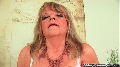 Grandmother with large breasts pushes huge dildo inside - 6 min HD