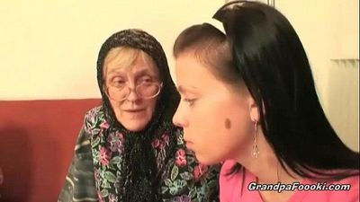 Hot babe helps granny to sucks a cock - 8 min