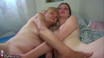Nice Old granny teaches Nice girl masturbate - 8 min HD