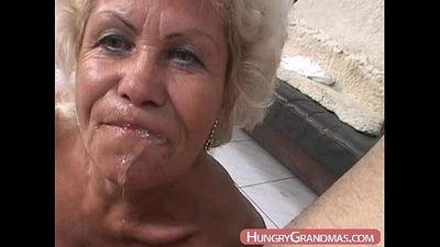 Blonde grandma Ella mouth fucked - 6 min