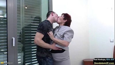 Well Skilled Granny Suck and Fuck Young Boy s Cock - 6 min