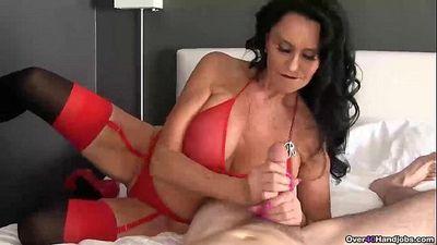 ov40-Brunette pornstar pov handjob - 6 min HD