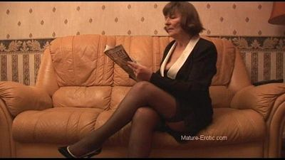Hairy Granny in stockings plays with panties then strips - 7 min