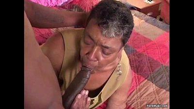 Ebony grandma loves big black cock - 6 min