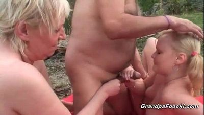 Slutty blonde gets seduced by horny mature couple - 8 min