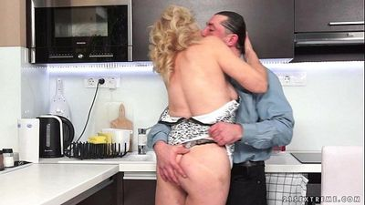 Hairy Granny Fucked In The Kitchen - 6 min HD
