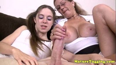 Tugging loving granny helps tugging dick - 6 min