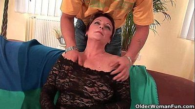 Sexy grandma enjoys his cock in her mouth and hairy pussy - 6 min HD