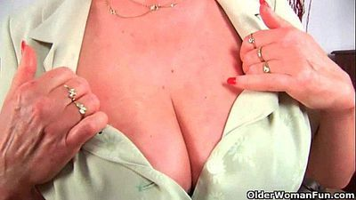 Grandma in stockings massages her big tits and old pussy - 5 min HD