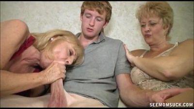 Two Blonde Grannies Suck A Big Cock - 4 min