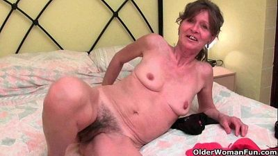 Hairy granny gets her saggy tits and furry hole fondled - 5 min HD