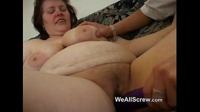 Younger guy dildos old womans ass and fucks her - 6 min