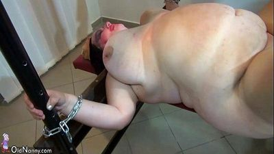 OldNanny Very chubby granny and Fat mature fucked with strapon, BDSM scene - 8 min HD