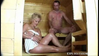 Milf fucking in the sauna ends with creampie - 8 min