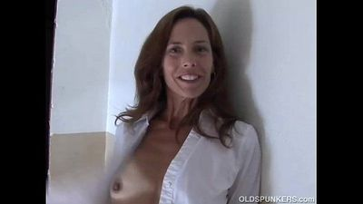 Gorgeous mature red head in stockings - 9 min