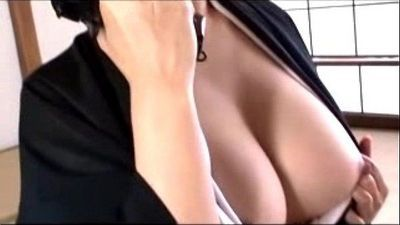 Busty Mature Lady In Black Kimono Masturbating Rubbing Fingering Herself - 10 min