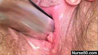 Mature mom Karin shows off hairy pussy extreme - 5 min