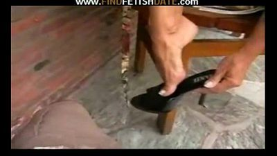 Black high heels & toes fetish - 6 min