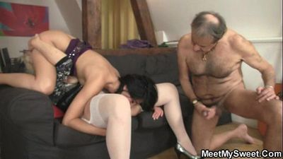 He finds her GF fucking his old parents - 6 min