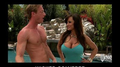 Big-boobed brunette MILF Lisan Ann fucks young cock by the poolHD