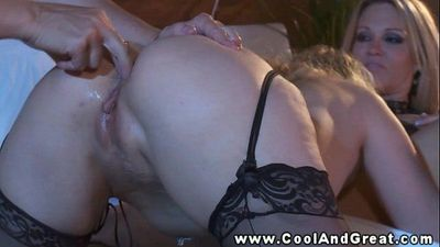 Threeway with busty blonds and their eager stud