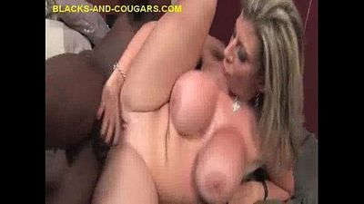 blonde Cougar Impaled on Black Cockk