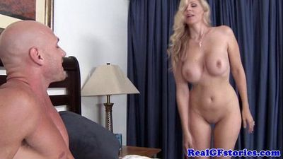 Blonde cougar has her pussy eaten out