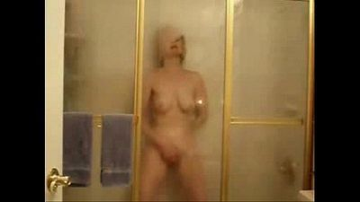My horny mom fingering in shower. Hidden cam - 48 sec