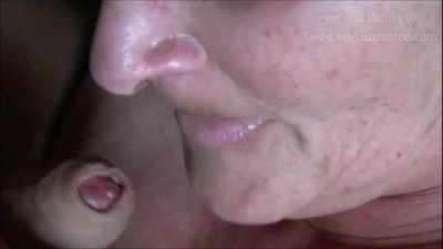 Granny Eating Cum CLOSEUP - 2 min
