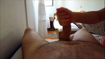 POV Handjob Cumming All Over Himself - 1 min 15 sec