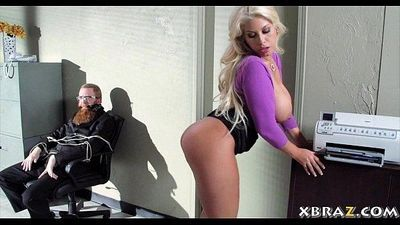 Huge tits blonde office bitch fucked during a bank robbery - 6 min