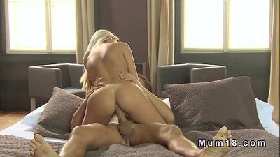 Beautiful blonde Milf sucks and screws - 10 min HD