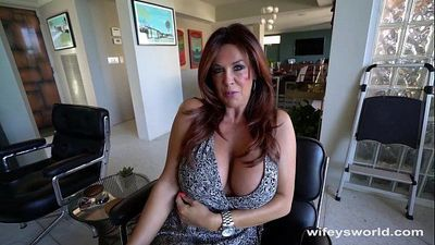 Tanned Busty MILF Sucks Cock And Swallows Cum Shot - 5 min HD