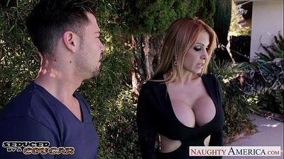 Kinky cougar Alyssa Lynn suck cock outdoors - 9 min HD