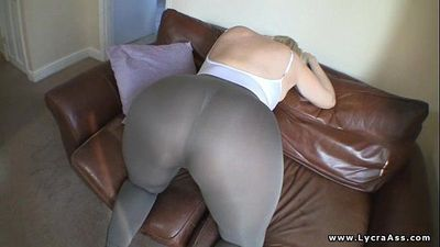 Huge ass big butt woman in sheer lycra - 1 min 20 sec