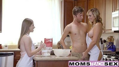 MomsTeachSex - Horny Mom Tricks Teen Into Hot Threeway - 8 min HD