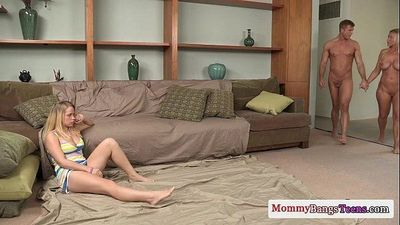 Busty milf stepmom joins teens threeway fun - 8 min HD
