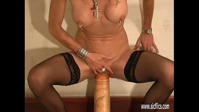 Gigantic dildo and foot fucked amateur MILF - 8 min