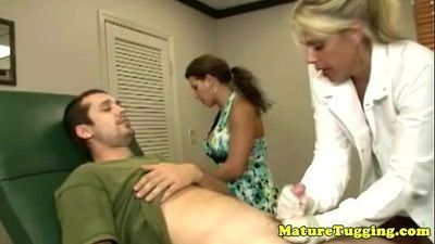 Milf matures tugging hard cock together - 6 min